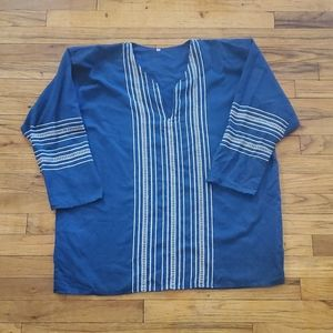 Mens Mexican woven blue tunic 3/4 sleeve medium